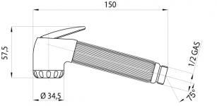 IT100C Hand Bidet Technical Drawing