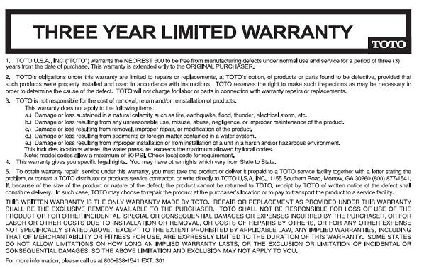 Toto Neorest Bidet Washlet Warranty